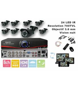 Kit Security Camera AHD DVR 8 Outputs, 8 Cameras WP-500B, 8x 20m cable BNC, 1 adaptator 8in1, 1 Power Supply 5A
