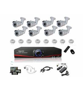 Kit Vidéosurveillance IP NVR 8 caméras IP-1300 8x 20m RJ45 8x adaptateurs DC/RJ45 1/8 splitter Alim