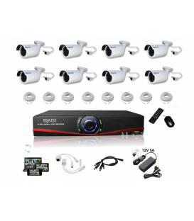 Kit Vidéosurveillance IP NVR 8 caméras IP-1250WC 8x 20m RJ45 8x adaptateurs DC/RJ45 1/8 splitter Alim