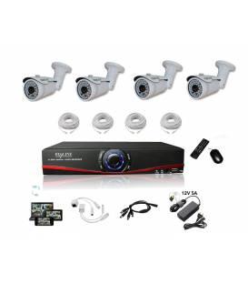 Kit Vidéosurveillance IP NVR 4 caméras IP-1300 4x 20m RJ45 4x adaptateurs DC/RJ45 1/4 splitter Alim