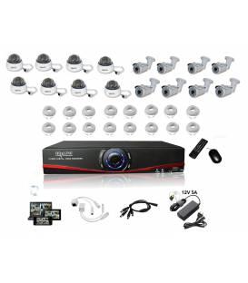 Kit Vidéosurveillance IP NVR 8 dômes IP1200 8 caméras IP1300 16x 20m RJ45 16x adaptateurs RJ45 2 1/8 splitter 2 Alim
