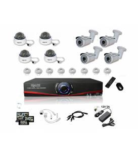 Kit Vidéosurveillance IP NVR 4 dômes IP-1200 4 caméras IP-1300 8x 20m RJ45 8x adaptateurs DC/RJ45 1/8 splitter Alim