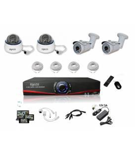 Kit Vidéosurveillance IP NVR 2 dômes IP-1200 2 caméras IP-1300 4x 20m RJ45 4x adaptateurs DC/RJ45 1/4 splitter Alim