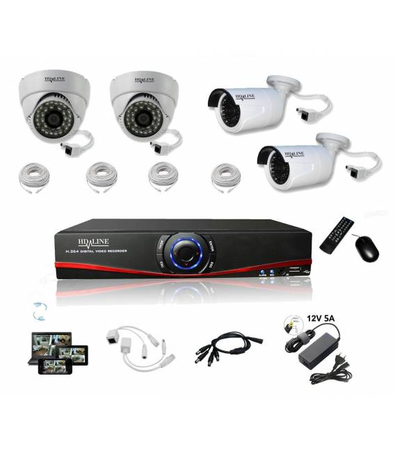 Security kit with 4 cameras - AHD and IP and DVR bfsat.fr