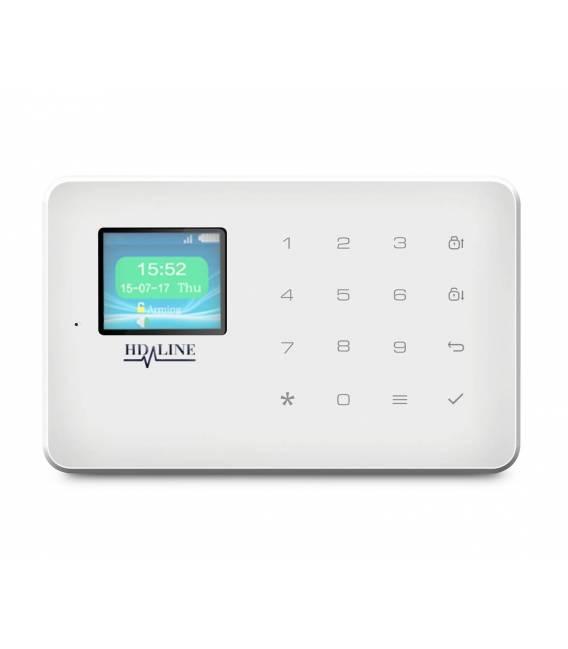 HD-LINE AL-18 Kit alarme sans fil GSM SIM + 3 detecteurs PIR + 3 detecteurs porte + detecteur fumee + sirene