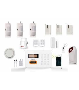 HD-LINE AL-10 Kit alarme sans fil ligne fixe FT ADSL + 3 detecteurs PIR + 3 detecteurs porte + detecteur fumee + sirene