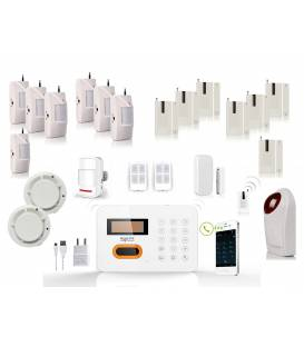 HD-LINE AL-10 Wireless Alarm System + 7x PIR / Door sensors + 2x smoke sensor + strobe sirene + remote control