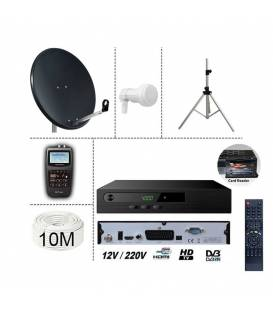 KIT TNTSAT 220/12V RECEIVER + SATELLITE DISH STEEL 80CM + TRIPOD + LNB SINGLE + SF-700 SATFINDER + 10M CABLE