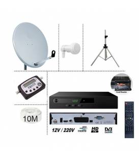KIT TNTSAT 220/12V HD RECEIVER + SATELLITE DISH 60CM + TRIPOD + LNB SINGLE + DIGITAL FINDER + 10M CABLE