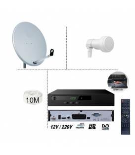KIT TNTSAT 220/12V RECEIVER + SATELLITE DISH 60CM + LNB SINGLE + 10M CABLE