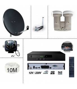 KIT TNTSAT Receiver + Satellite dish steel 80cm + lnb monobloc single + 10m cable + satfinder compass + Satellite dish mount bal