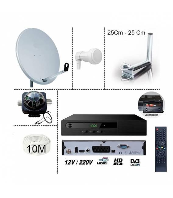 KIT TNTSAT HD - Démodulateur HD + Parabole 65 cm + LNB single + 10m Cable coaxial + Fixation balcon 25x25cm + Boussole satfinder