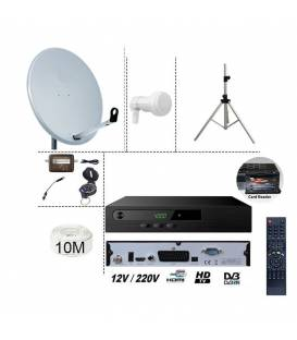 kit TNTSAT HD 220/12V DEMO + PARABOLE 60CM + LNB SINGLE + KIT SATFINDER BOUSSOLE + 10M CABLE 120 DB + TREPIED