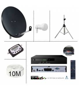 Kit parabole 64cm anthracite + Demo TNTSAT 12V + LNB Single + 10m cable coaxial + satfinder digital + trepied alu