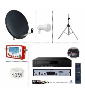 KIT TNTSAT 220/12V DEMO + PARABOLE 60CM + LNB SINGLE + SF-500 SATFINDER + 10M CABLE + TREPIED