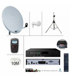 KIT DEMO TNTSAT 220/12V + PARABOLE 65CM + TREPIED + LNB SINGLE + SF-700 SATFINDER + 10M CABLE