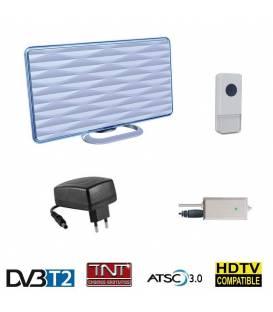 Antenne TNT HD terrestre DVB-T2 intérieure 28 dB 2en1 + Sonnette 36 Mélodies
