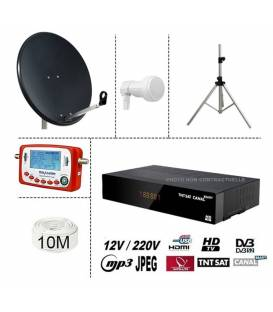 KIT TNTSAT 220/12V DEMO + PARABOLE ACIER 80CM + TREPIED + LNB SINGLE + SF-500 SATFINDER + 10M CABLE