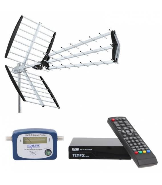 Kit ANTENNA TNT DVB-T + RECEIVER + TERRESTRIAL FINDER
