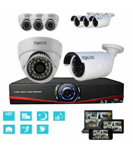 Kit Security Camera IP NVR + 4 Dome IP-1150 + 4 Cameras IP-1250 + 8x 20m RJ45 + 8x adaptators DC/RJ45 + 1/8 splitter + Power Sup