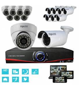 Kit Security Camera IP NVR + 8 Dome IP1150 + 8 Cameras IP1250 + 16x 20m RJ45 + 16x adaptators RJ45 + 2 1/8 splitter + 2 Power Su