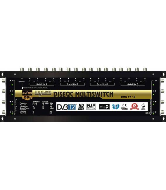SET HD-LINE PRO MULTISWITCH 17/8 - 4 SATELLITES - 1 TERRESTRE / 8 DEMOS