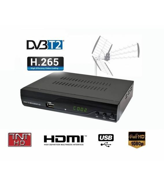 Kit TNT HD - Décodeur terrestre TNT DVB-T2 H.265 - USB / HDMI / Péritel + Antenne intérieure extérieure HDTV HD-940T