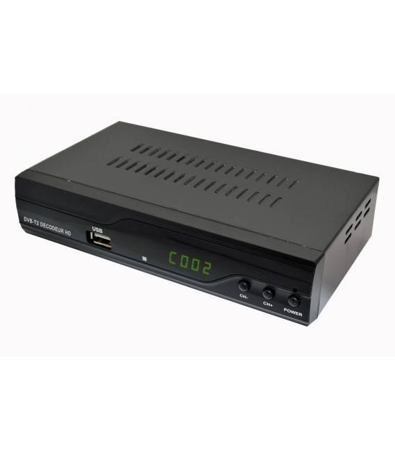 Kit TNT HD - Décodeur terrestre TNT DVB-T2 H.265 - USB / HDMI / Péritel + Mini antenne HDTV HD-975T