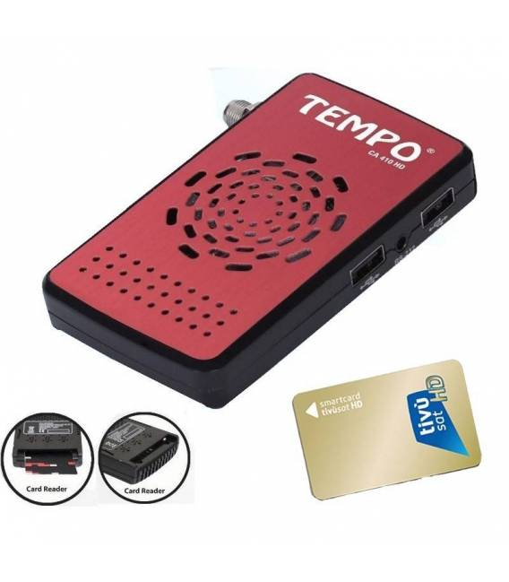 TEMPO CA 410HD + TIVUSAT CARTE Démodulateur satellite FTA CA carte reader Récepteur par parabole