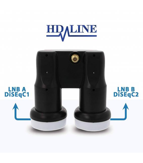 HD-LINE Monobloc Single with gold connector LNB 0.1db FULL HD 3D 6° astra hotbird