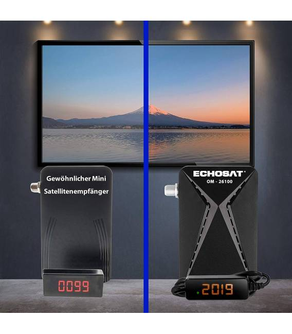 Echosat OM-26100 Mini Sat Receiver —DVB S/S2 Satelliten Receiver ✓Full HD ✓1080 P ✓HDMI ✓2 x USB 2.0 ✓HDTV [Digital Satelliten R