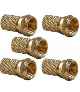 Lot 5 Fiches F OR coaxial 6,8 MM CONNECTEUR F GOLD