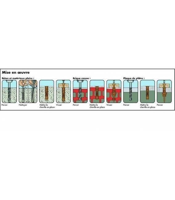 4 VIS / CHEVILLES pour FIXATION PARABOLE MURAL & BETON WURTH